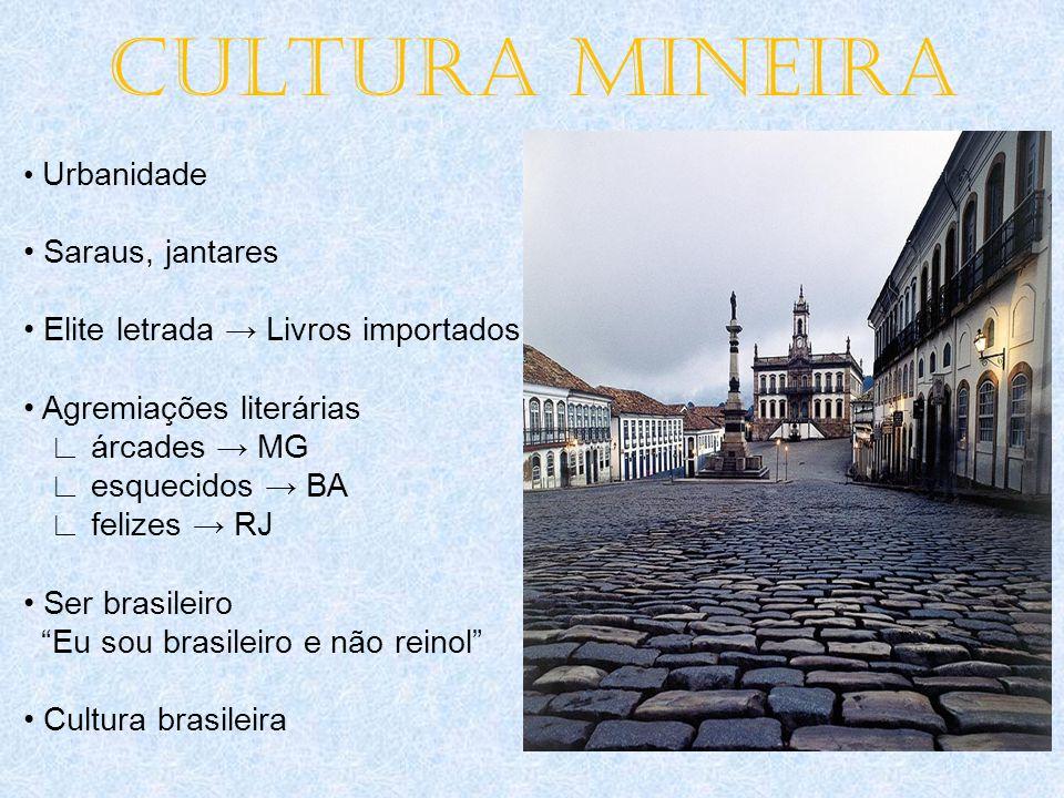 CULTURA MINEIRA • Urbanidade • Saraus, jantares • Elite letrada → Livros importados • Agremiações literárias ∟ árcades → MG ∟ esquecidos → BA ∟ felize