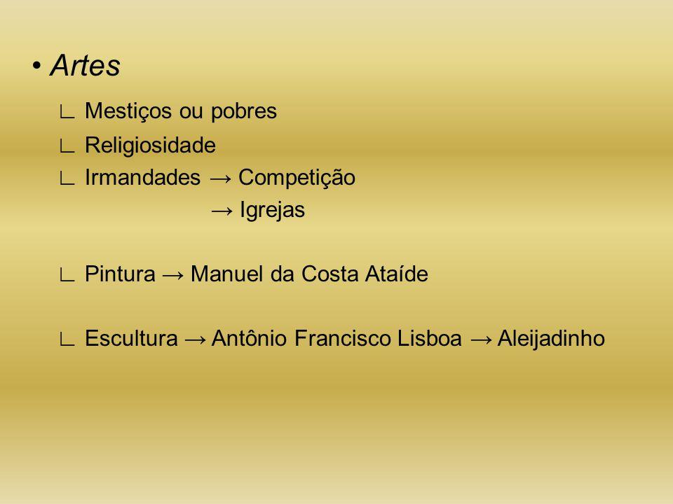 • Artes ∟ Mestiços ou pobres ∟ Religiosidade ∟ Irmandades → Competição → Igrejas ∟ Pintura → Manuel da Costa Ataíde ∟ Escultura → Antônio Francisco Li