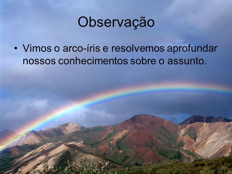 Observação •Vimos o arco-íris e resolvemos aprofundar nossos conhecimentos sobre o assunto.