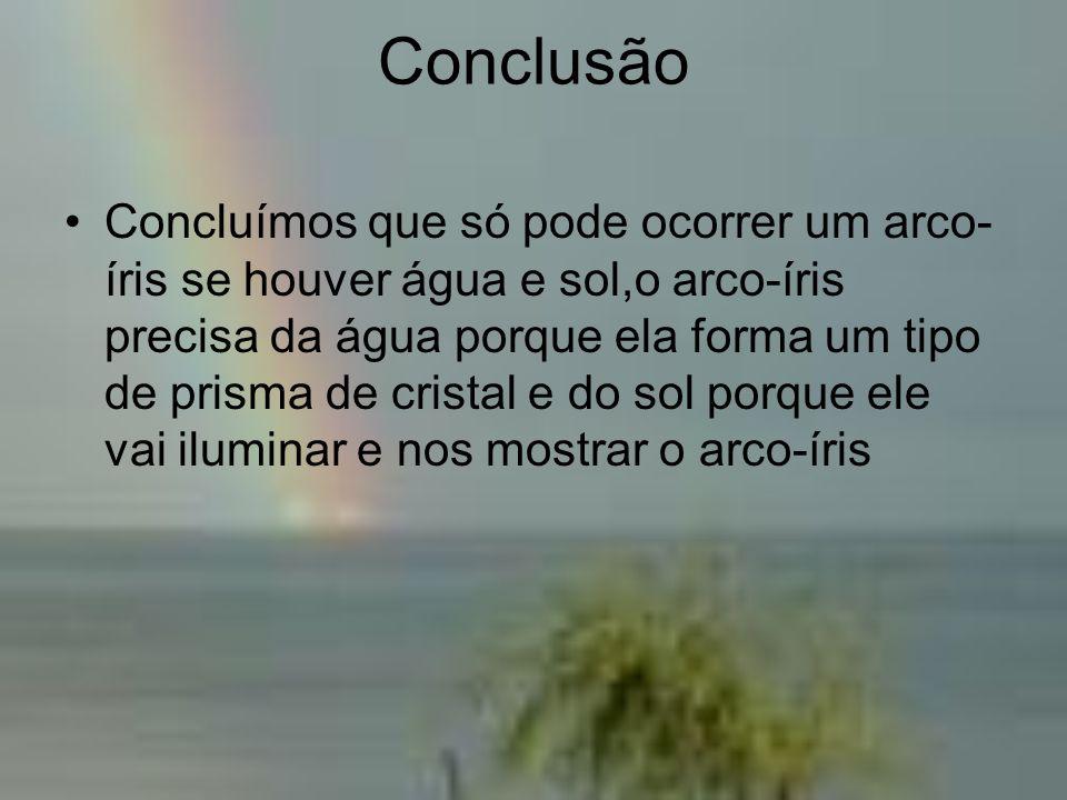 Conclusão •Concluímos que só pode ocorrer um arco- íris se houver água e sol,o arco-íris precisa da água porque ela forma um tipo de prisma de cristal