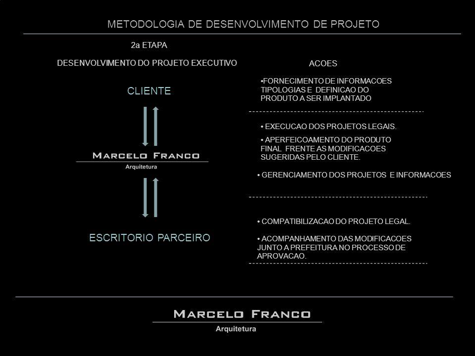 METODOLOGIA DE DESENVOLVIMENTO DE PROJETO DESENVOLVIMENTO DO PROJETO EXECUTIVO 2a ETAPA •FORNECIMENTO DE INFORMACOES TIPOLOGIAS E DEFINICAO DO PRODUTO A SER IMPLANTADO ESCRITORIO PARCEIRO • COMPATIBILIZACAO DO PROJETO LEGAL.