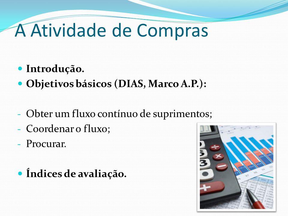 A Atividade de Compras  Introdução.  Objetivos básicos (DIAS, Marco A.P.): - Obter um fluxo contínuo de suprimentos; - Coordenar o fluxo; - Procurar