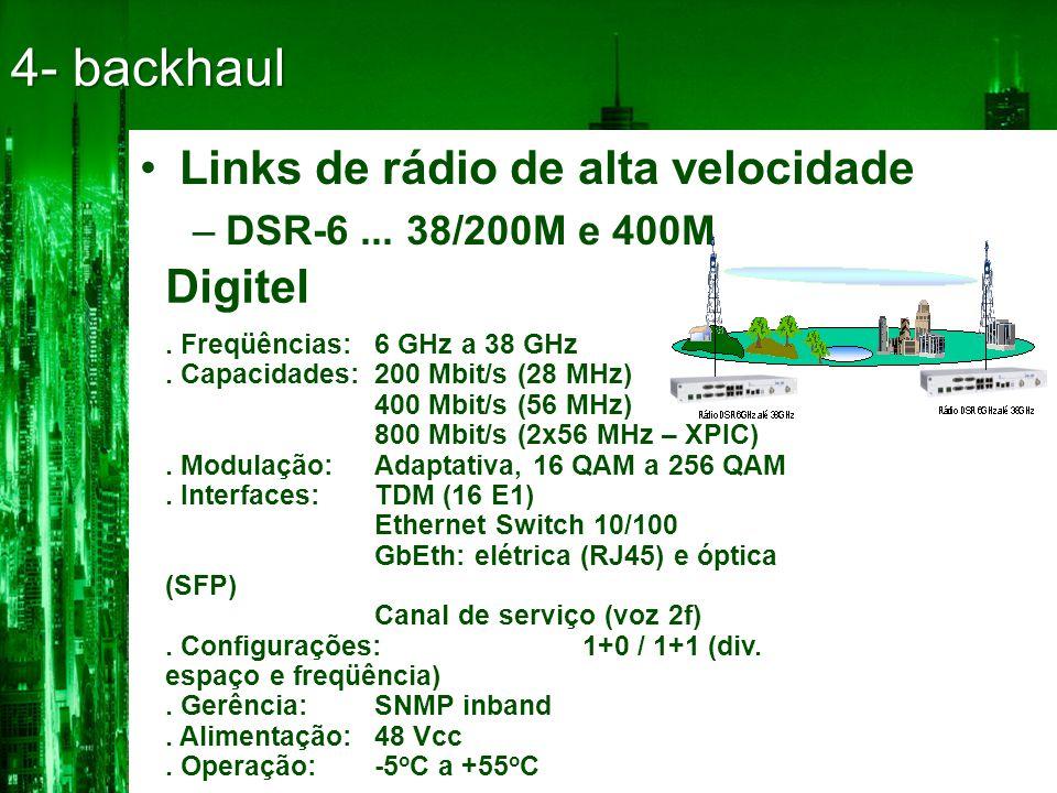 4- backhaul •Links de rádio de alta velocidade –DSR-6...