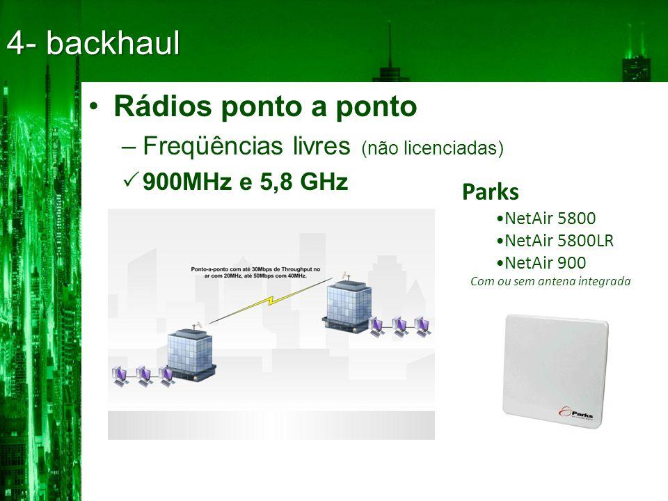 •Rádios ponto a ponto –Freqüências livres (não licenciadas)  900MHz e 5,8 GHz 4- backhaul Parks •NetAir 5800 •NetAir 5800LR •NetAir 900 Com ou sem antena integrada