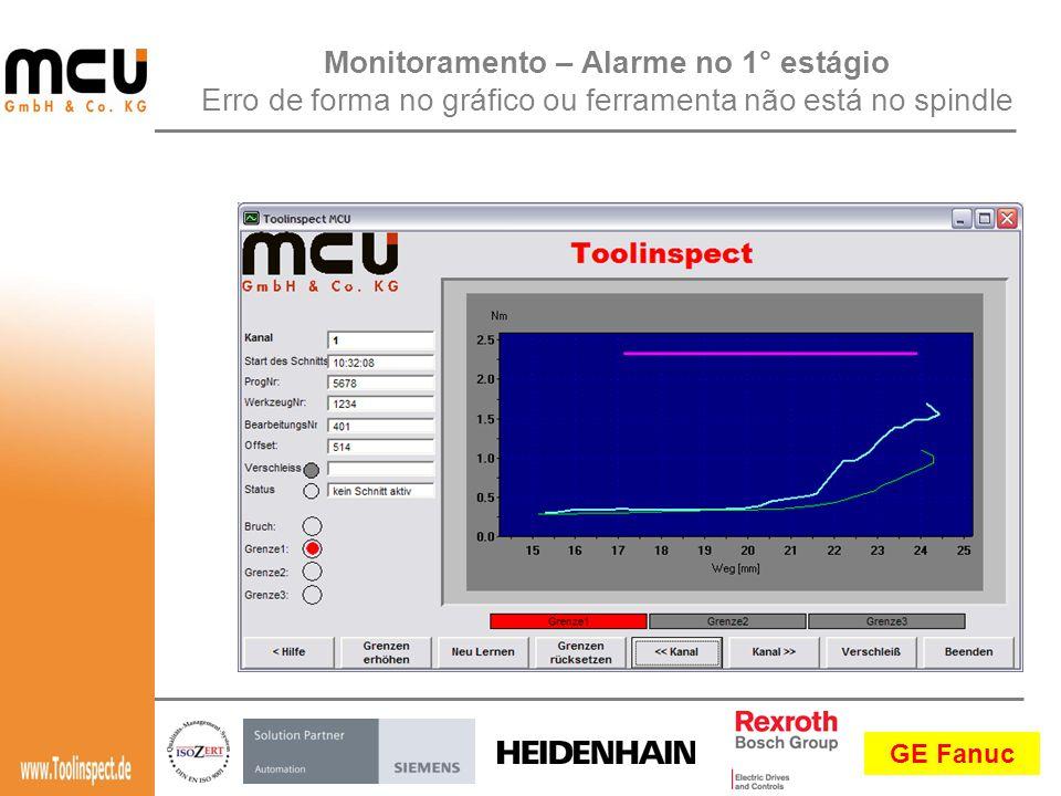 GE Fanuc Monitoramento – Alarme no 1° estágio Erro de forma no gráfico ou ferramenta não está no spindle