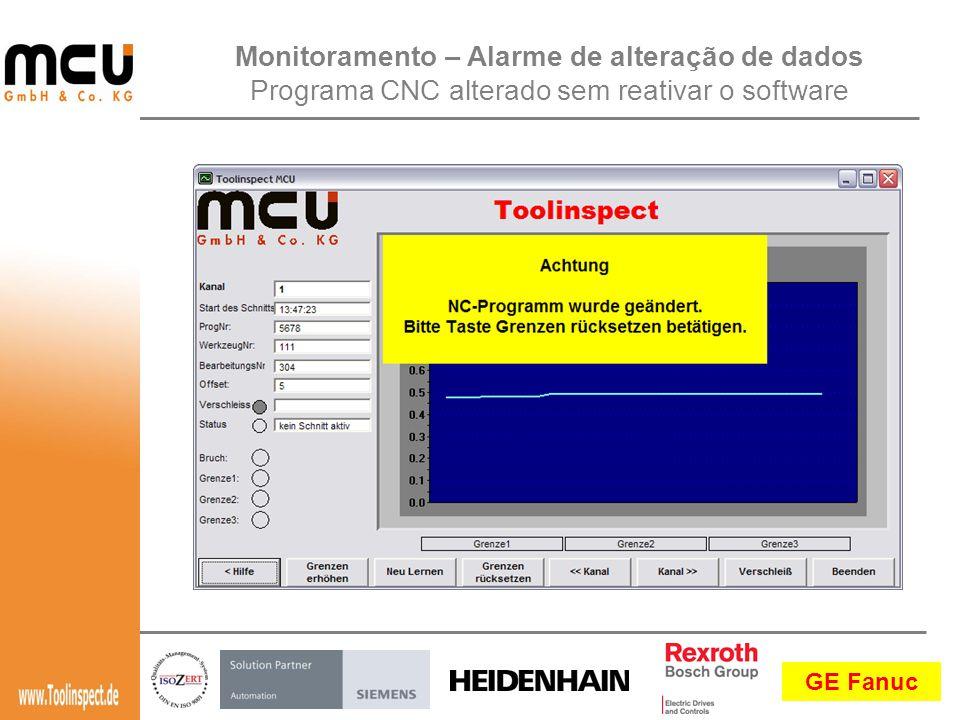 GE Fanuc Monitoramento – Alarme de alteração de dados Programa CNC alterado sem reativar o software