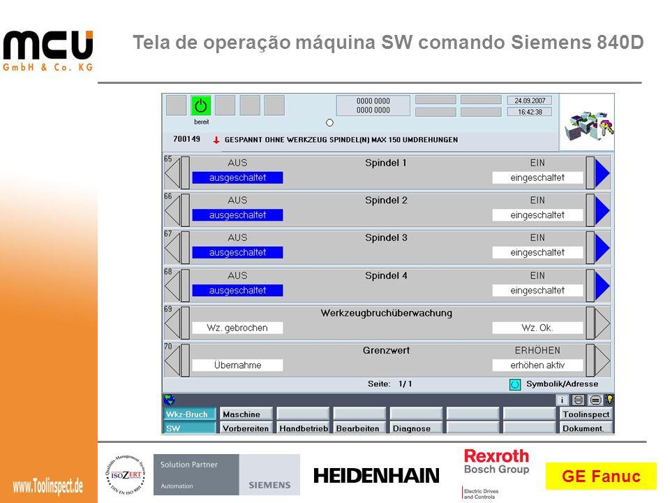 GE Fanuc Tela de operação máquina SW comando Siemens 840D