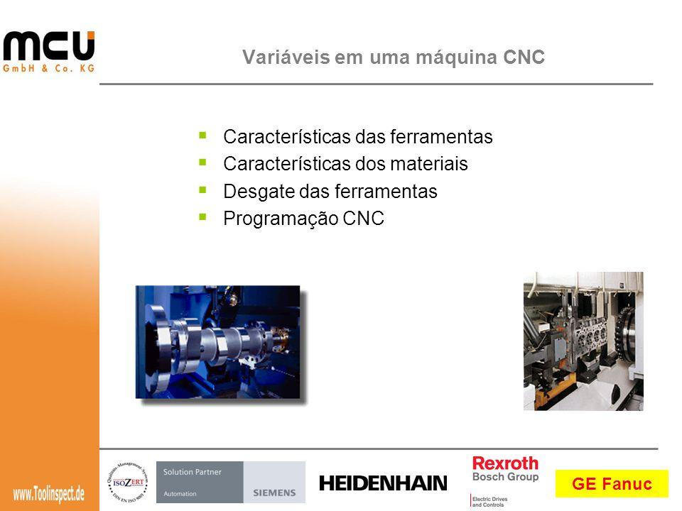 GE Fanuc  Características das ferramentas  Características dos materiais  Desgate das ferramentas  Programação CNC Variáveis em uma máquina CNC
