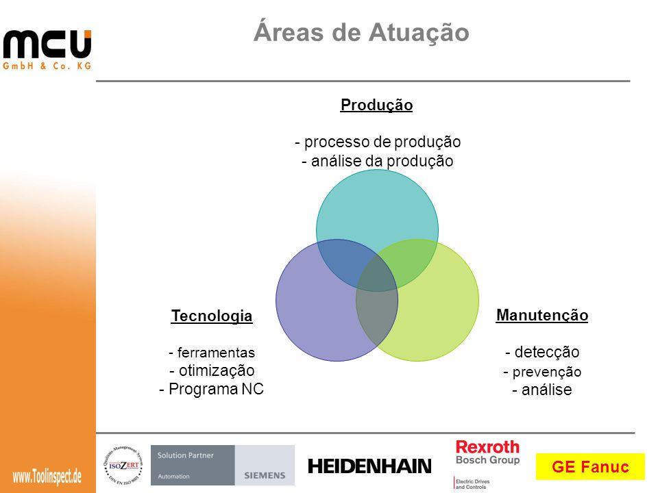 GE Fanuc Produção - processo de produção - análise da produção Manutenção - detecção - prevenção - análise Tecnologia - ferramentas - otimização - Programa NC Áreas de Atuação