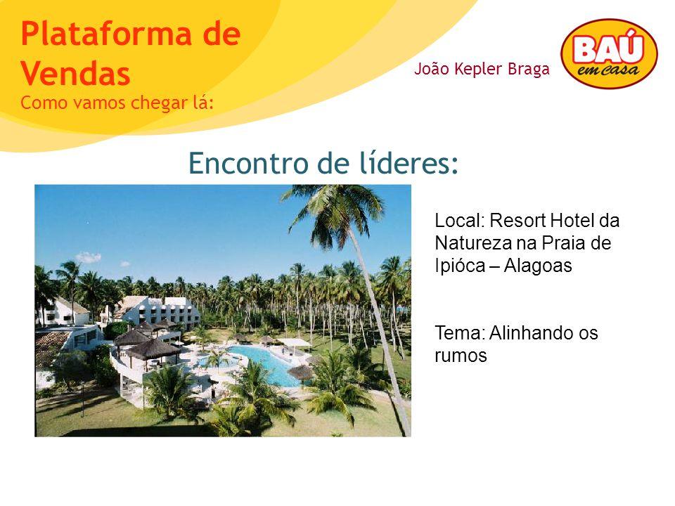 João Kepler Braga Plataforma de Vendas Encontro de líderes: Como vamos chegar lá: Local: Resort Hotel da Natureza na Praia de Ipióca – Alagoas Tema: A