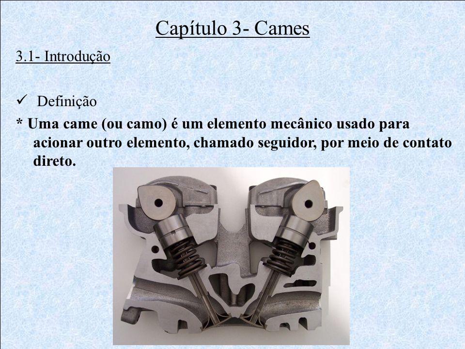 Capítulo 3- Cames 3.1- Introdução  Definição * Uma came (ou camo) é um elemento mecânico usado para acionar outro elemento, chamado seguidor, por mei