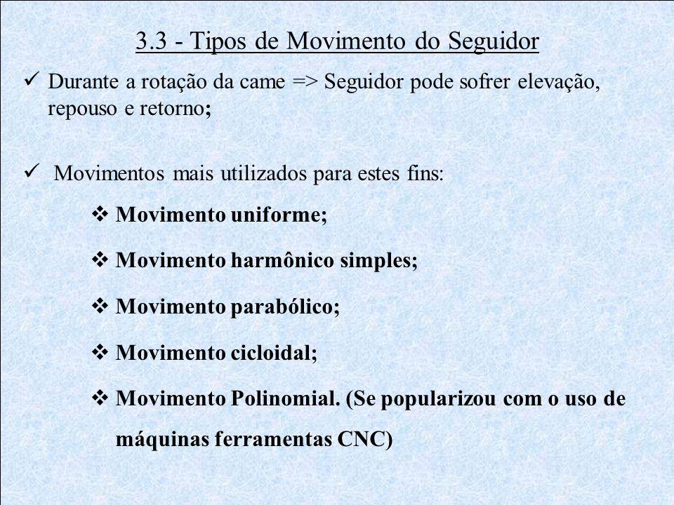 3.3 - Tipos de Movimento do Seguidor  Durante a rotação da came => Seguidor pode sofrer elevação, repouso e retorno;  Movimentos mais utilizados par