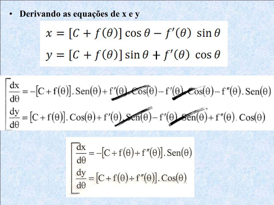•Derivando as equações de x e y