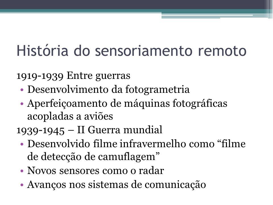 História do sensoriamento remoto 1919-1939 Entre guerras •Desenvolvimento da fotogrametria •Aperfeiçoamento de máquinas fotográficas acopladas a aviõe