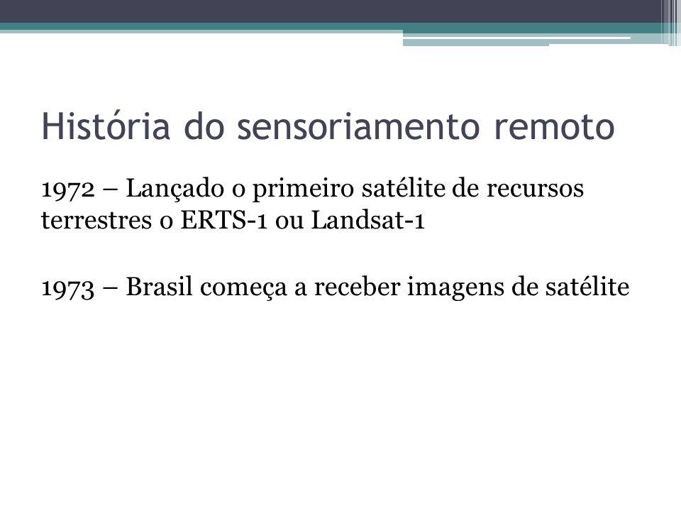 História do sensoriamento remoto 1972 – Lançado o primeiro satélite de recursos terrestres o ERTS-1 ou Landsat-1 1973 – Brasil começa a receber imagen