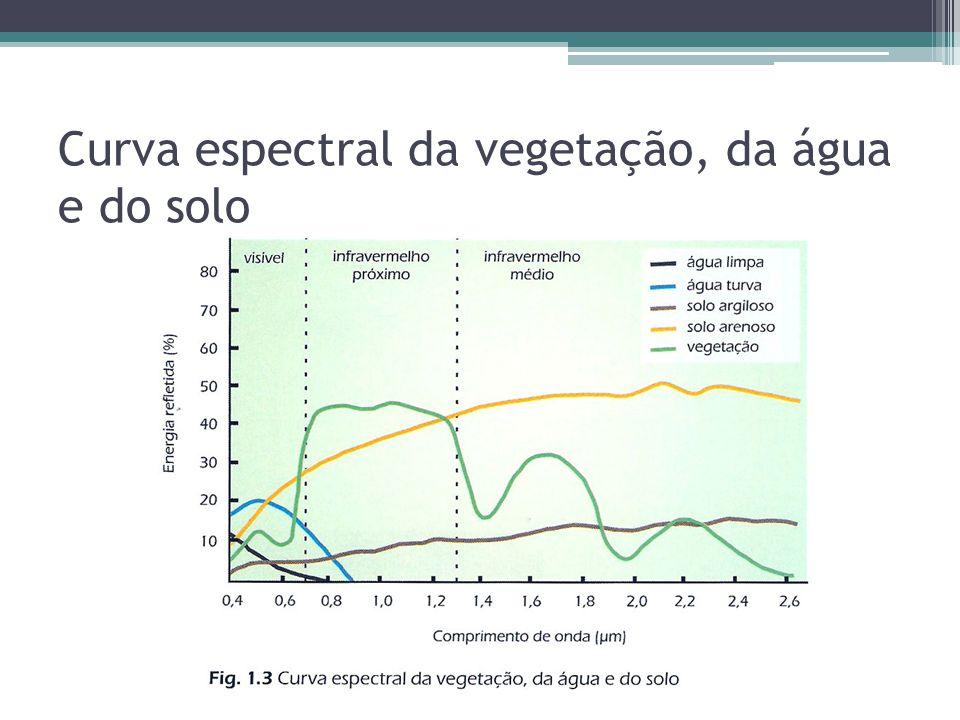 Curva espectral da vegetação, da água e do solo
