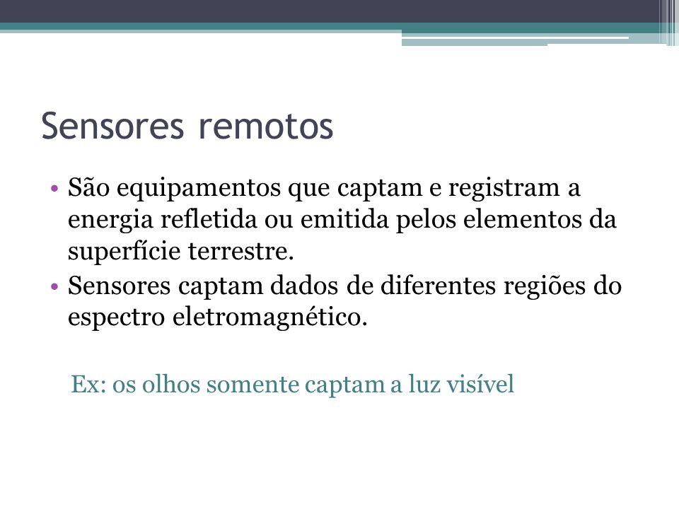 Sensores remotos •São equipamentos que captam e registram a energia refletida ou emitida pelos elementos da superfície terrestre. •Sensores captam dad