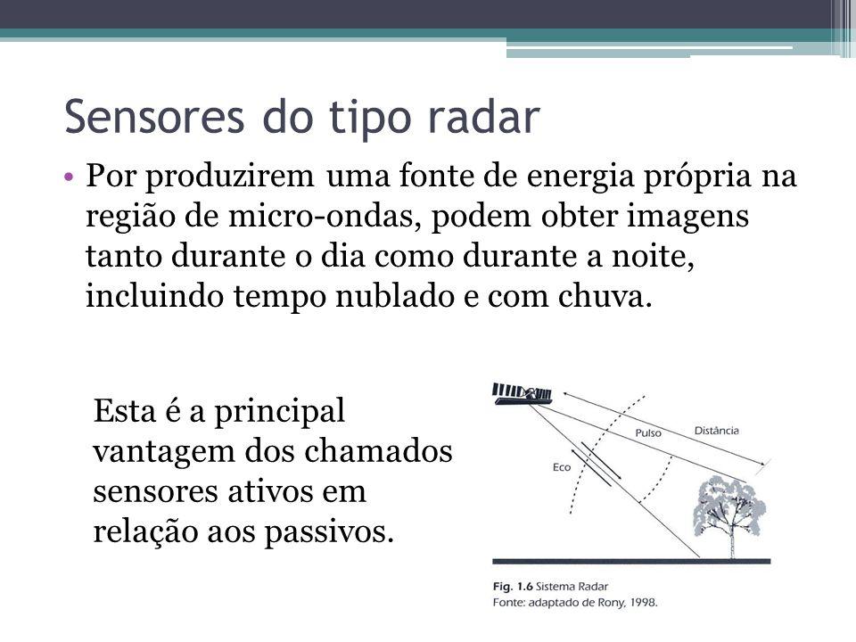 Sensores do tipo radar •Por produzirem uma fonte de energia própria na região de micro-ondas, podem obter imagens tanto durante o dia como durante a n