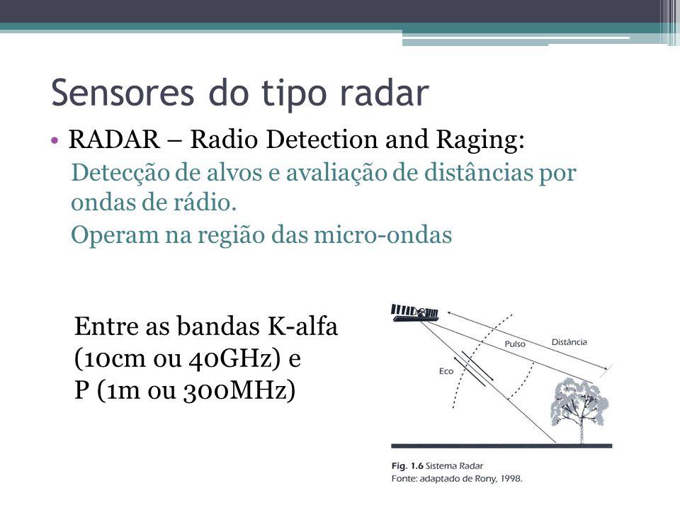 Sensores do tipo radar •RADAR – Radio Detection and Raging: Detecção de alvos e avaliação de distâncias por ondas de rádio. Operam na região das micro