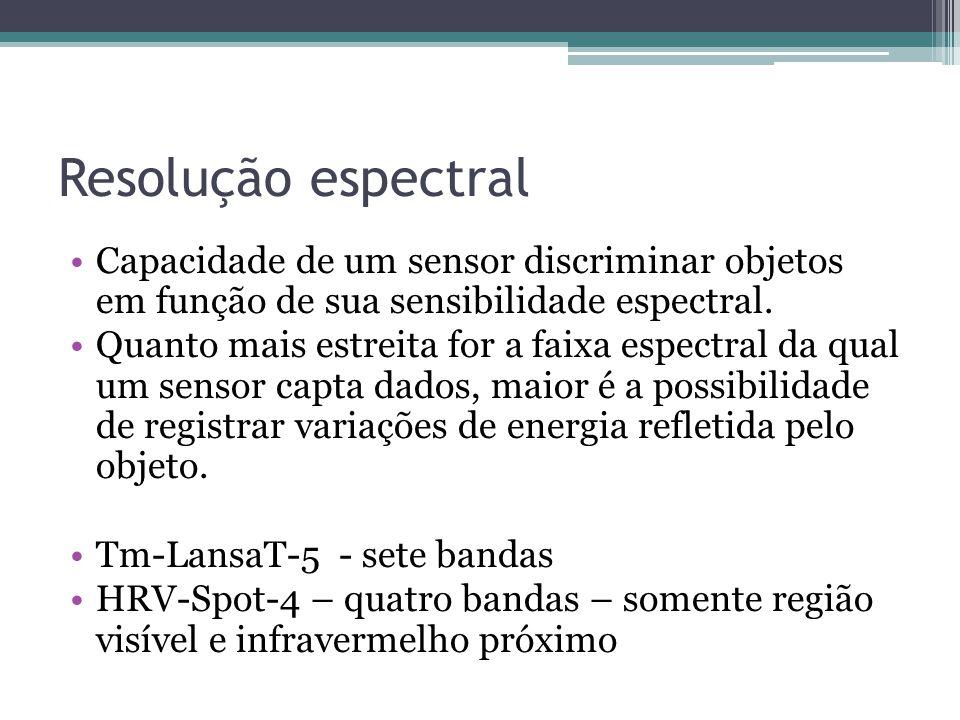 Resolução espectral •Capacidade de um sensor discriminar objetos em função de sua sensibilidade espectral. •Quanto mais estreita for a faixa espectral