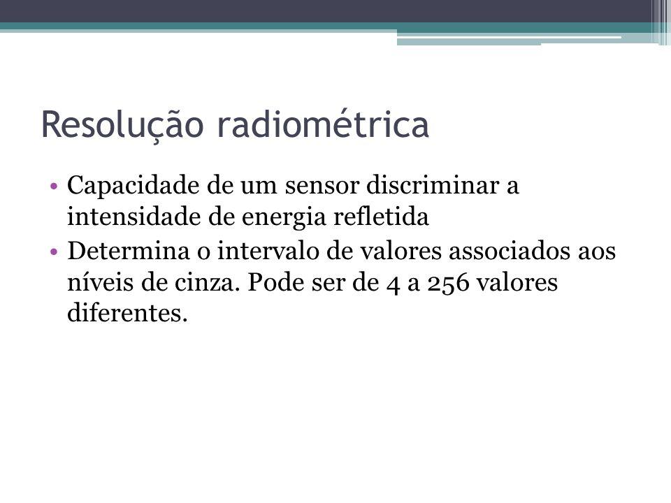 Resolução radiométrica •Capacidade de um sensor discriminar a intensidade de energia refletida •Determina o intervalo de valores associados aos níveis
