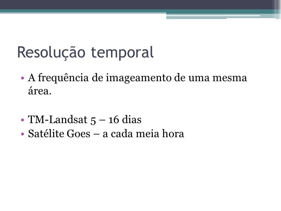 Resolução temporal •A frequência de imageamento de uma mesma área. •TM-Landsat 5 – 16 dias •Satélite Goes – a cada meia hora