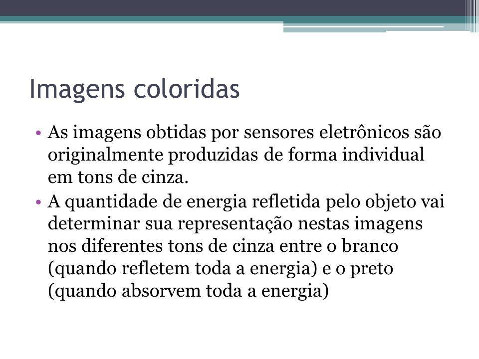 Imagens coloridas •As imagens obtidas por sensores eletrônicos são originalmente produzidas de forma individual em tons de cinza. •A quantidade de ene