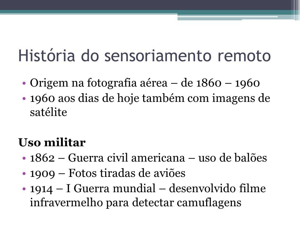 História do sensoriamento remoto •Origem na fotografia aérea – de 1860 – 1960 •1960 aos dias de hoje também com imagens de satélite Uso militar •1862