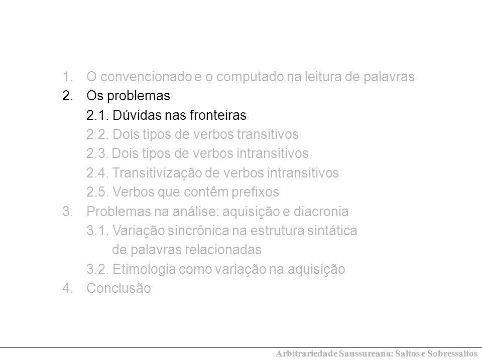 Arbitrariedade Saussureana: Saltos e Sobressaltos 1.O convencionado e o computado na leitura de palavras 2.Os problemas 2.1. Dúvidas nas fronteiras 2.