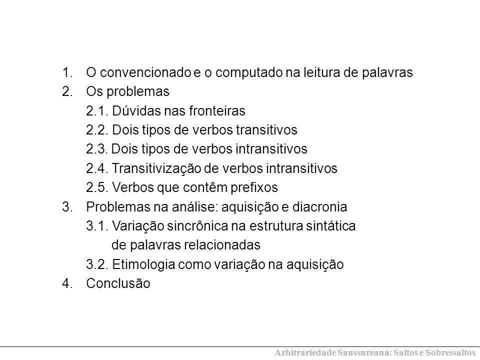 1.O convencionado e o computado na leitura de palavras 2.Os problemas 2.1.