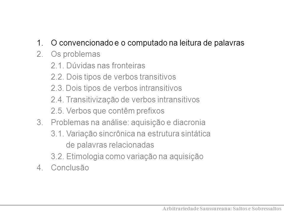 1.O convencionado e o computado na leitura de palavras 2.Os problemas 2.1. Dúvidas nas fronteiras 2.2. Dois tipos de verbos transitivos 2.3. Dois tipo