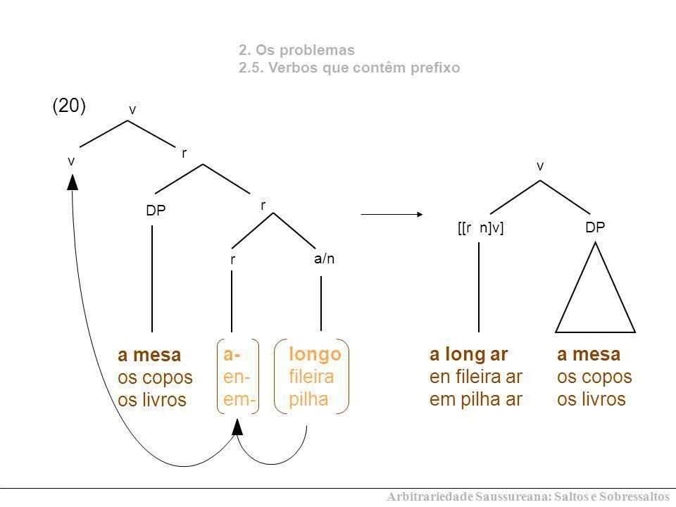 2. Os problemas 2.5. Verbos que contêm prefixo v [[r n]v] a mesa os copos os livros a/n r DP r r a mesa os copos os livros v v (20) DP longo fileira p