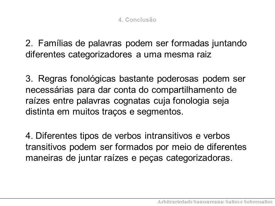 Arbitrariedade Saussureana: Saltos e Sobressaltos 4. Conclusão 2. Famílias de palavras podem ser formadas juntando diferentes categorizadores a uma me