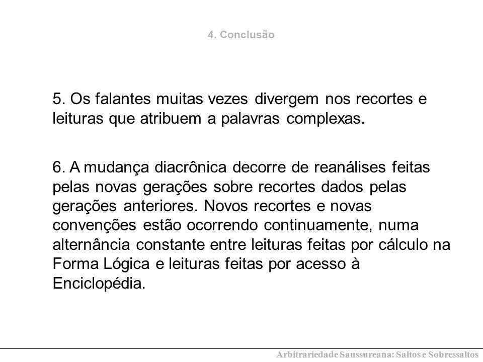 Arbitrariedade Saussureana: Saltos e Sobressaltos 4. Conclusão 5. Os falantes muitas vezes divergem nos recortes e leituras que atribuem a palavras co