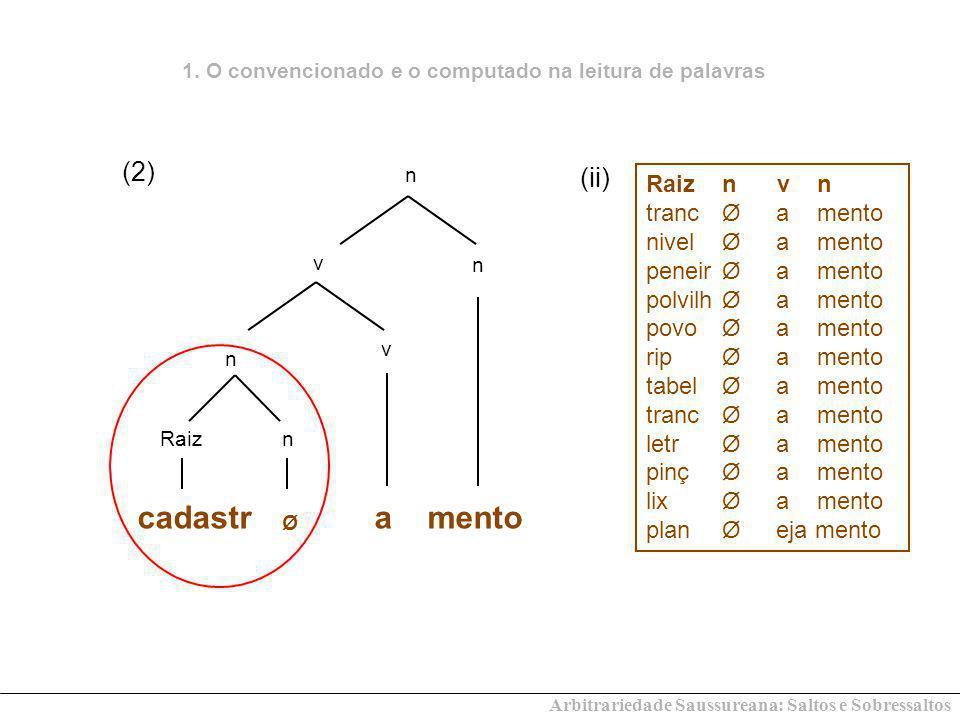 Arbitrariedade Saussureana: Saltos e Sobressaltos v r rn Ø cadastro v r DP -ao cliente (2)a 1.