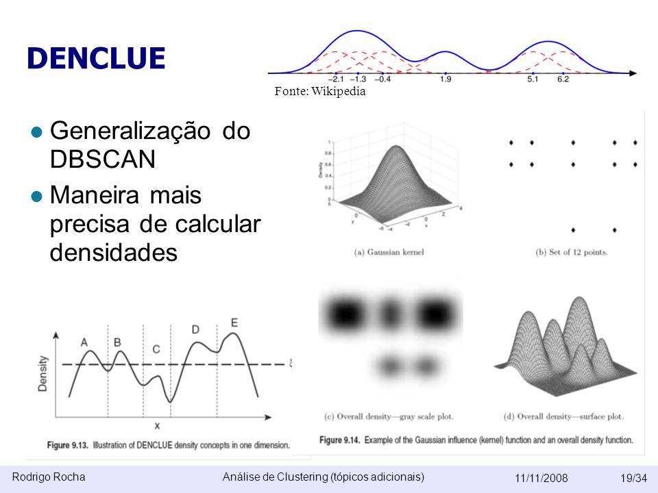 Rodrigo RochaAnálise de Clustering (tópicos adicionais) 11/11/200819/34 DENCLUE  Generalização do DBSCAN  Maneira mais precisa de calcular densidades É como um DBSCAN que passou pela mão de um estatístico –desvantagens  kernel-based é caro.