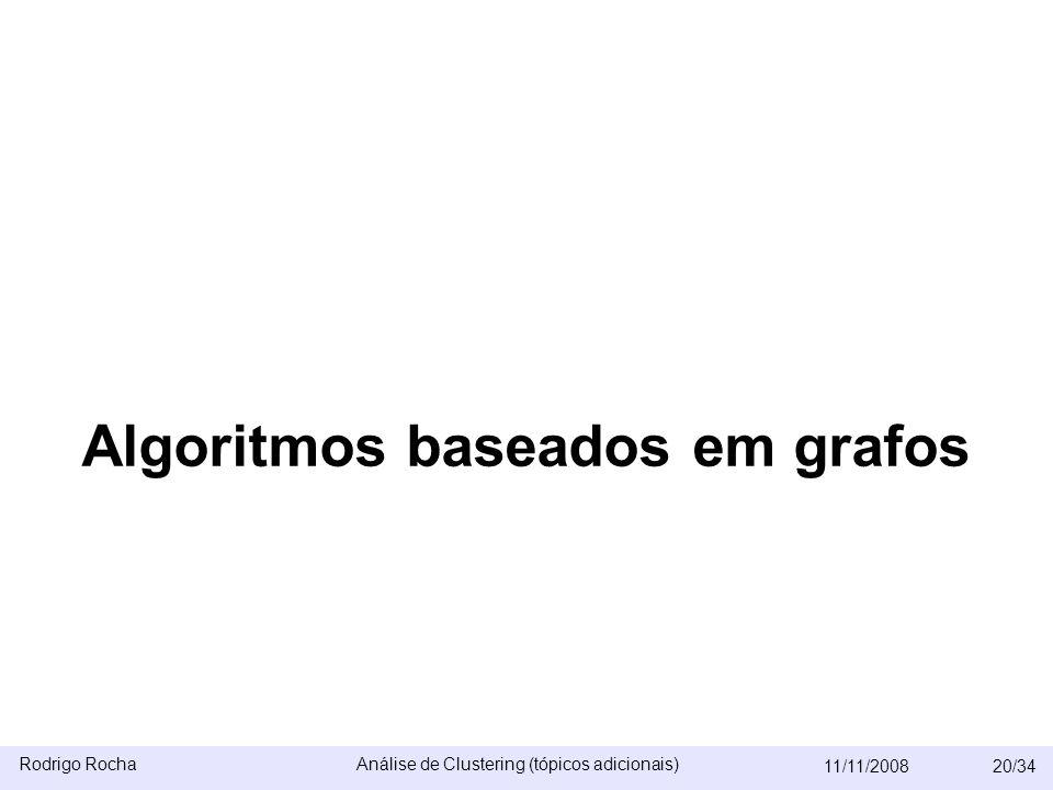Rodrigo RochaAnálise de Clustering (tópicos adicionais) 11/11/200820/34 Algoritmos baseados em grafos