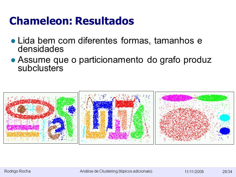 Rodrigo RochaAnálise de Clustering (tópicos adicionais) 11/11/200828/34 Chameleon: Resultados  Lida bem com diferentes formas, tamanhos e densidades  Assume que o particionamento do grafo produz subclusters