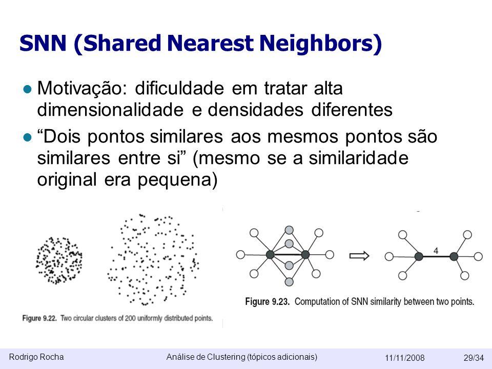Rodrigo RochaAnálise de Clustering (tópicos adicionais) 11/11/200829/34 SNN (Shared Nearest Neighbors)  Motivação: dificuldade em tratar alta dimensionalidade e densidades diferentes  Dois pontos similares aos mesmos pontos são similares entre si (mesmo se a similaridade original era pequena)