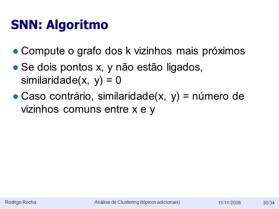Rodrigo RochaAnálise de Clustering (tópicos adicionais) 11/11/200830/34 SNN: Algoritmo  Compute o grafo dos k vizinhos mais próximos  Se dois pontos x, y não estão ligados, similaridade(x, y) = 0  Caso contrário, similaridade(x, y) = número de vizinhos comuns entre x e y