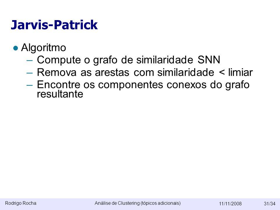 Rodrigo RochaAnálise de Clustering (tópicos adicionais) 11/11/200831/34 Jarvis-Patrick  Algoritmo –Compute o grafo de similaridade SNN –Remova as arestas com similaridade < limiar –Encontre os componentes conexos do grafo resultante