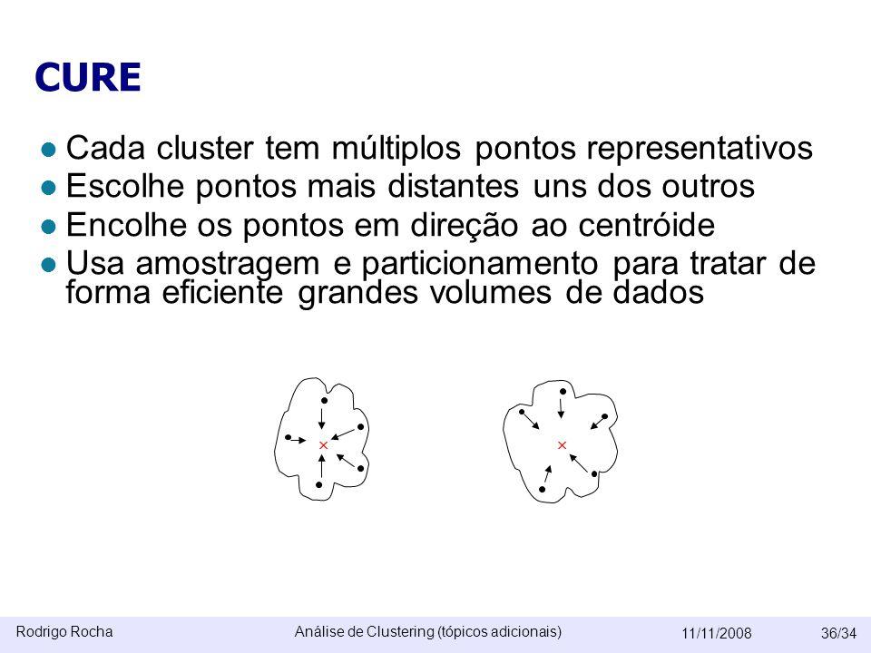 Rodrigo RochaAnálise de Clustering (tópicos adicionais) 11/11/200836/34 CURE  Cada cluster tem múltiplos pontos representativos  Escolhe pontos mais distantes uns dos outros  Encolhe os pontos em direção ao centróide  Usa amostragem e particionamento para tratar de forma eficiente grandes volumes de dados 