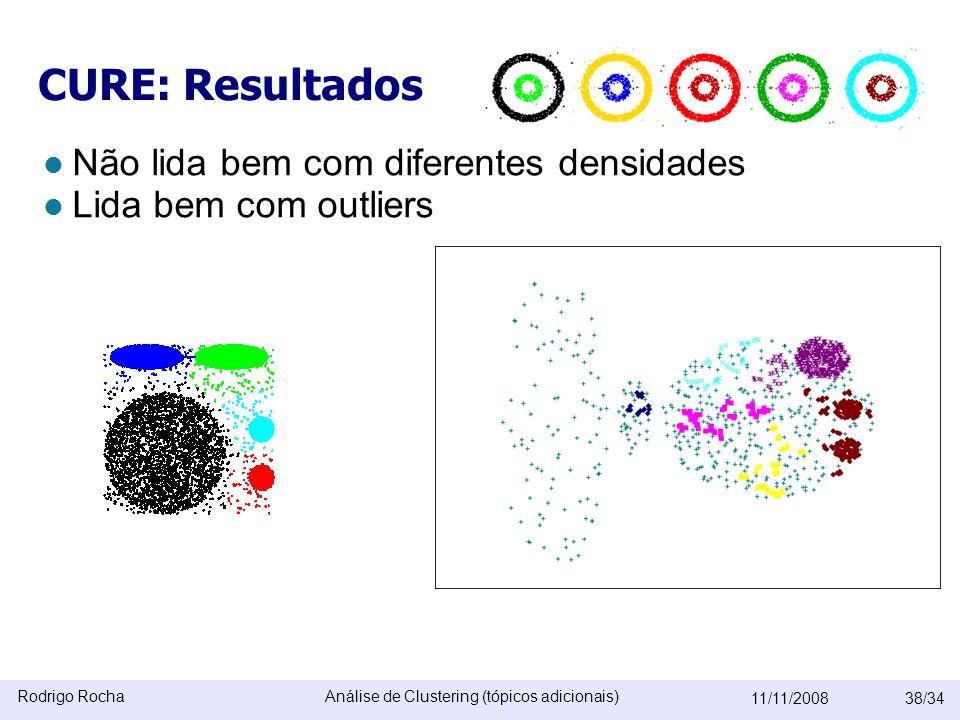 Rodrigo RochaAnálise de Clustering (tópicos adicionais) 11/11/200838/34 CURE: Resultados  Não lida bem com diferentes densidades  Lida bem com outliers