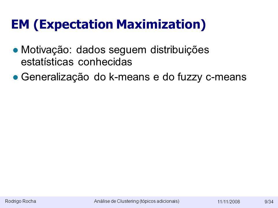 Rodrigo RochaAnálise de Clustering (tópicos adicionais) 11/11/20089/34 EM (Expectation Maximization)  Motivação: dados seguem distribuições estatísticas conhecidas  Generalização do k-means e do fuzzy c-means É como se fosse o K-means que passou pela mão de um estatístico  Algoritmo EM: cada cluster segue uma distribuição estatística.