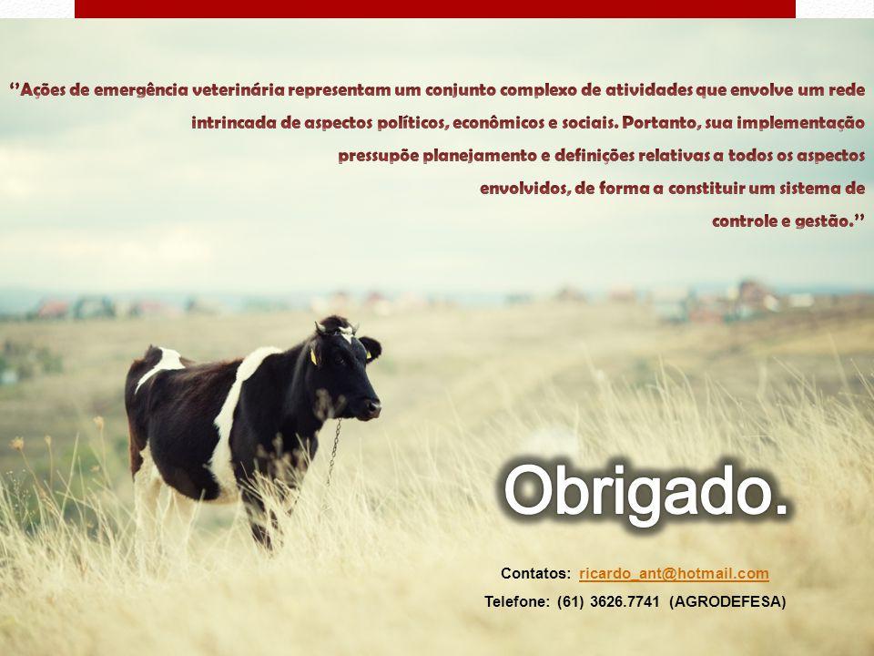 Contatos: ricardo_ant@hotmail.comricardo_ant@hotmail.com Telefone: (61) 3626.7741 (AGRODEFESA)