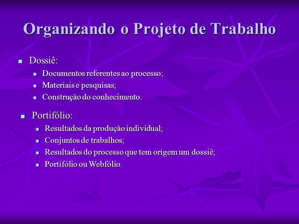 Organizando o Projeto de Trabalho  Dossiê:  Documentos referentes ao processo;  Materiais e pesquisas;  Construção do conhecimento.  Portifólio: