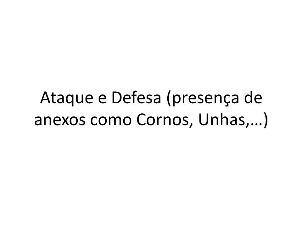 Ataque e Defesa (presença de anexos como Cornos, Unhas,…)