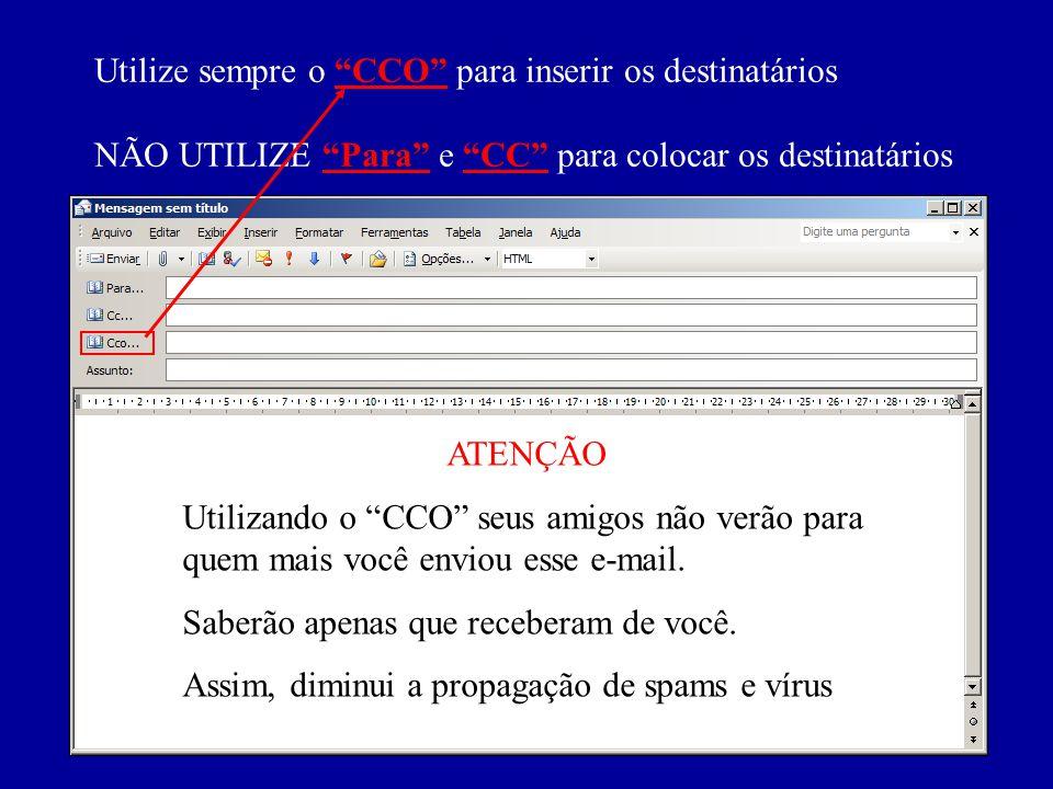Utilize sempre o CCO para inserir os destinatários NÃO UTILIZE Para e CC para colocar os destinatários ATENÇÃO Utilizando o CCO seus amigos não verão para quem mais você enviou esse e-mail.