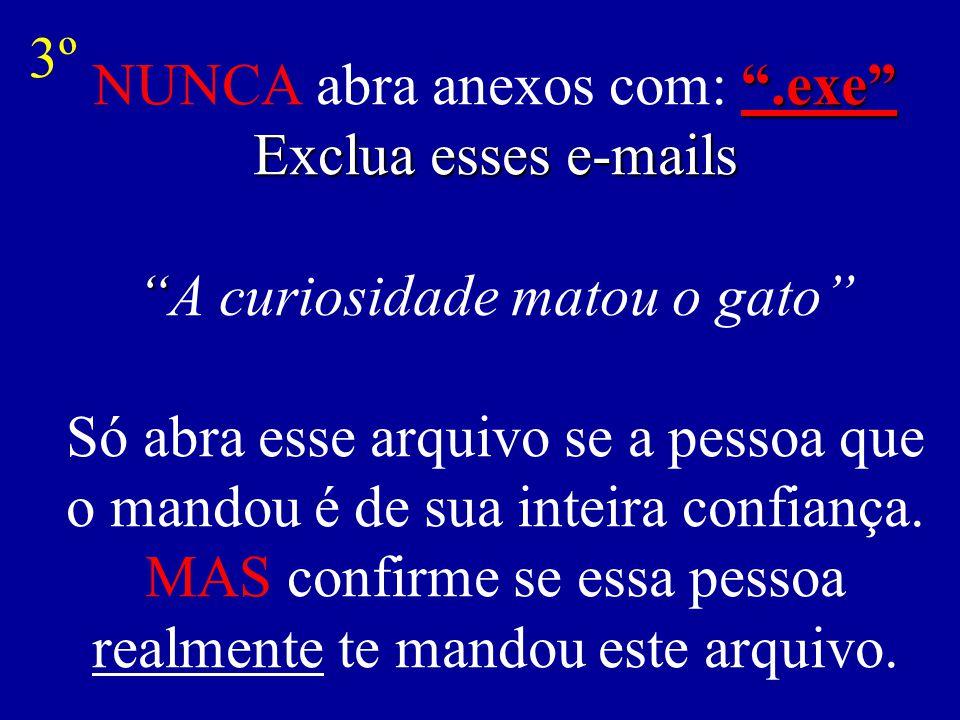 .exe Exclua esses e-mails NUNCA abra anexos com: .exe Exclua esses e-mails A curiosidade matou o gato Só abra esse arquivo se a pessoa que o mandou é de sua inteira confiança.