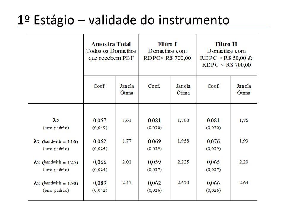 1º Estágio – validade do instrumento